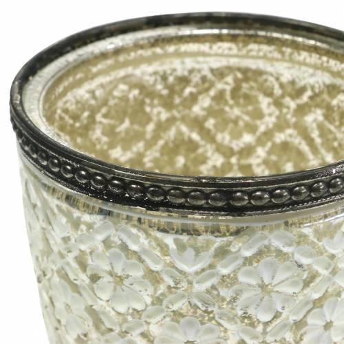 Theelicht glazen beker boeren zilver bloemen Ø9cm H13,5cm