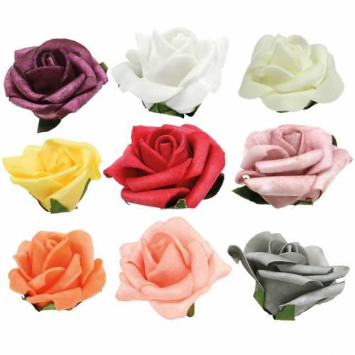 Foam-Rose Ø6cm verschillende kleuren 27st