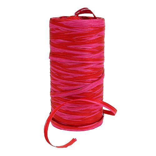 Raffia bicolor rood-roze 200m