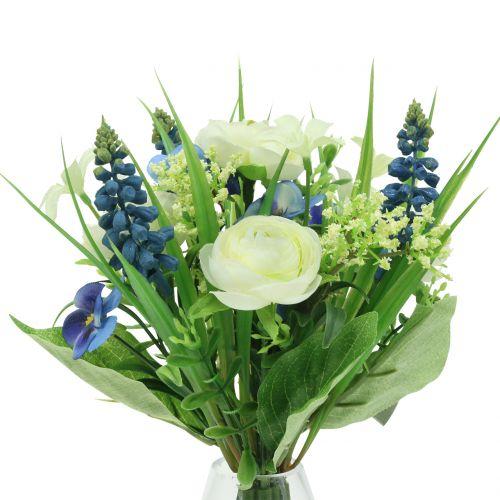 Ranunculus boeket met blauwe druifjes wit 25cm