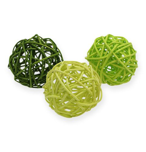 Rotan ballen Ø4,5cm groen assorti 30st