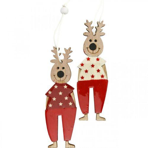Rendier om op te hangen, kerstversiering, kerstboomversiering, houten versieringen voor advent H13cm 8st