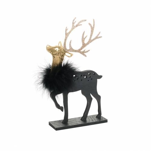 Decoratie Voor De Kersttafel Rendier Met Veren Boa En Glitter Zwart Goud 22 5 13cm 2st 69692 Koop Goedkoop Online