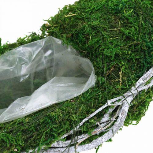 Moskrans plantenring met ranken en mosgroen, wit Ø35cm
