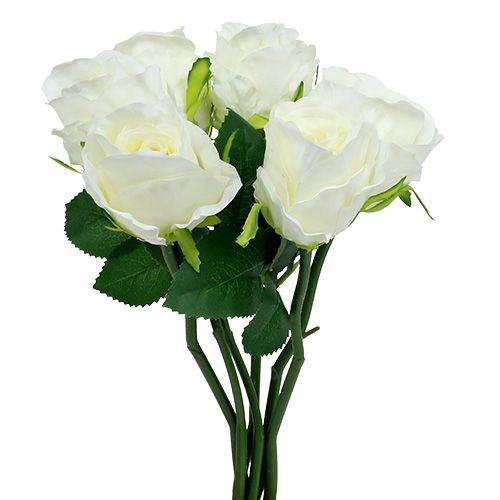 Rose wit Ø6cm L30cm 6st