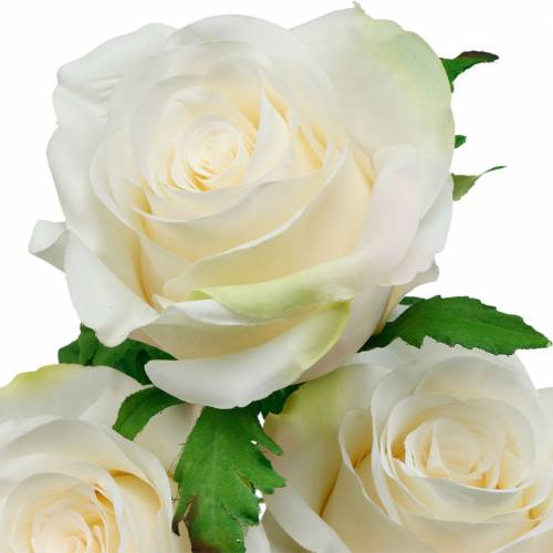 Witte roos op steel, zijden bloem, kunstroos 3st