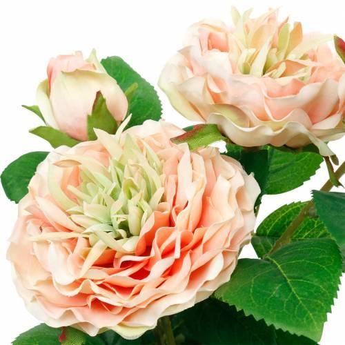 Decoratieve roos in pot, romantische zijden bloemen, roze pioenroos