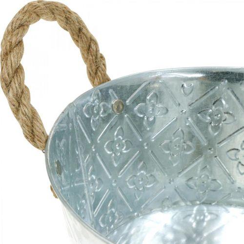 Plantenschaal, metalen pot met bloemmotief, bloempot met handvatten Ø18cm