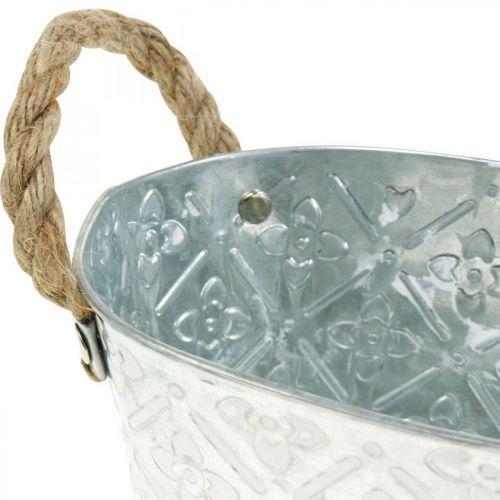 Decoratieve schaal ovaal zilver met handvatten metalen plantenbak 22,5 × 13,5 cm
