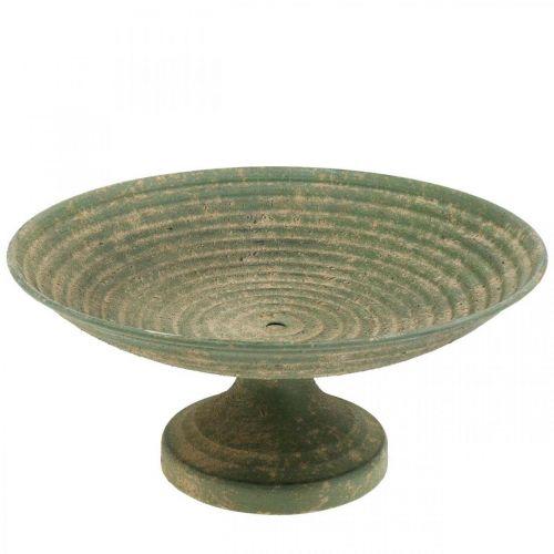 Kom met voet, decoratieve schaal, metalen schaal, antiek look, Ø26cm H12cm