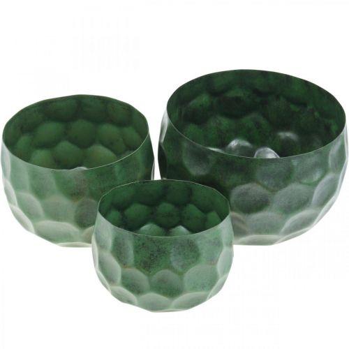 Sierschaal metaal groen vintage plantenbak Ø25 / 20.5 / 16.5cm set van 3