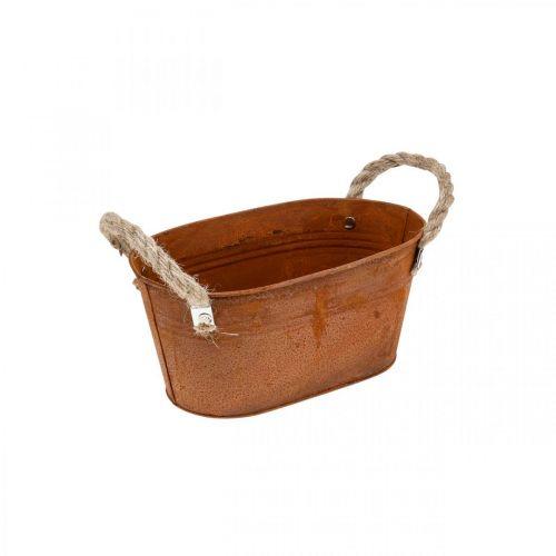 Metalen kom met handvatten, herfstdecoratie, plantenbak met patina L22cm H11cm