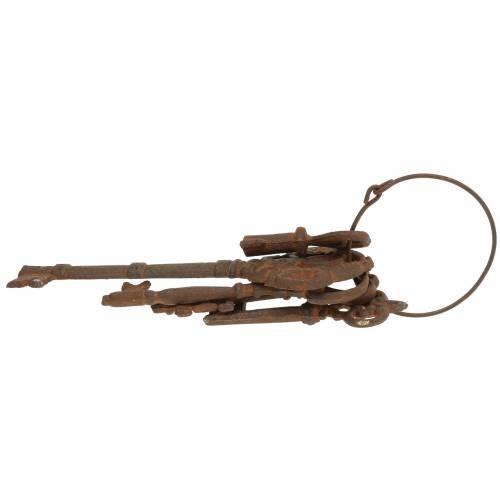 Sleutelhanger gietijzer roest 36cm 5 stuks