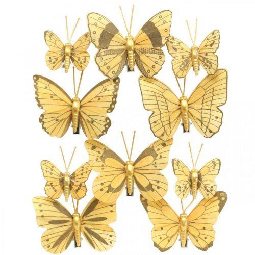 Lente vlinder met clip gouden lente decoratie 6cm 10st in een set
