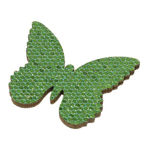Scatter decoratie vlinder groen glitter 5/4 / 3cm 24st