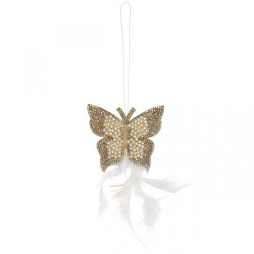 Vilten vlinder om crème trouwdecoratie op te hangen 16cm