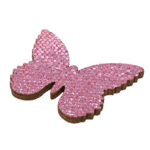 Scatter decoratie vlinder roze-glitter 5/4 / 3cm 24st