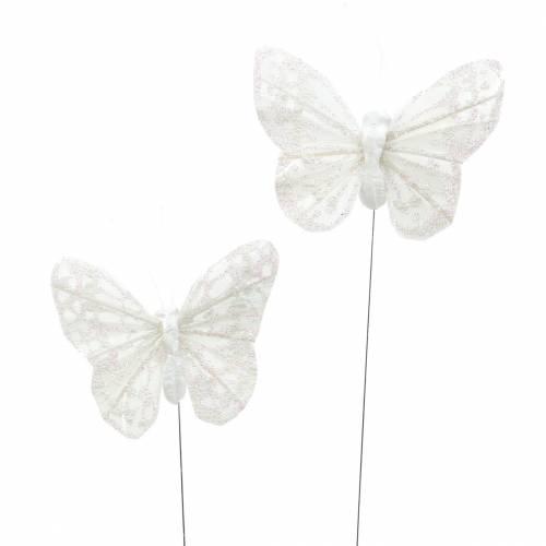 Veer vlinder met draad wit, glitter 5cm 24st
