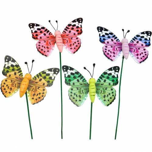 Decoratieve vlinder op stok, bloemenplug, lentedecoratie, 16st