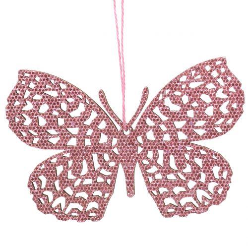 Decoratieve hangende vlinder roze glitter 10cm 6st
