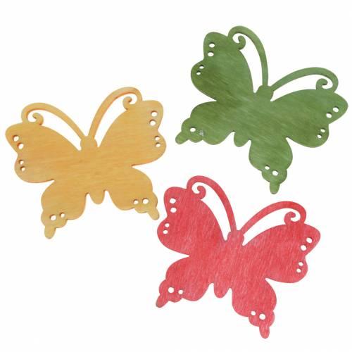 Scatter decoratie vlinder hout oranje, geel, groen 4cm 72p