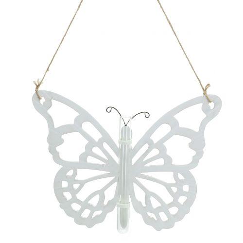 Vlinder met reageerbuis om op te hangen 19x24cm 3st