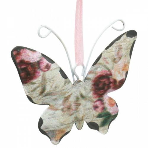 Vlinder om op te hangen metalen decoratiehanger 7cm lentedecoratie 12st