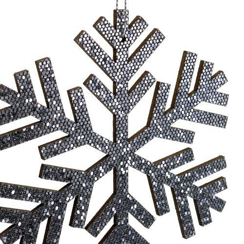 Sneeuwvlok grijs om op te hangen Ø8cm - Ø12cm 9st