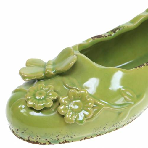 Planter damesschoen keramisch groen 24cm