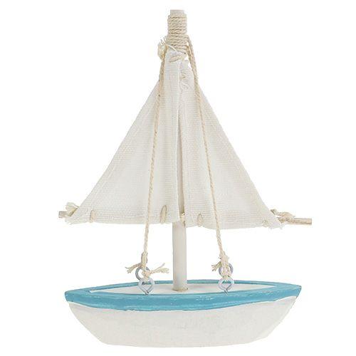 Zeilboot 10cm x 14cm wit-blauw