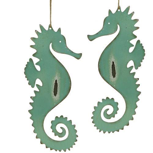 Decoratieve hanger zeepaardje groen 27cm 2st