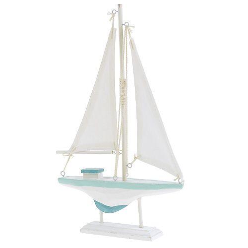 Zeilboot wit-blauw hout, linnen maritieme decoratie 30cm