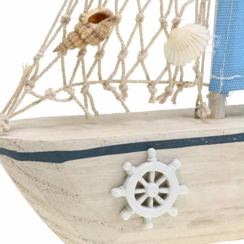 Decoratieve zeilboot hout blauw wit natuurlijk 20x4cm H30cm
