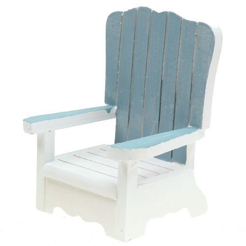 Decoratieve stoel gemaakt van hout wit-turkoois-grijs H16cm