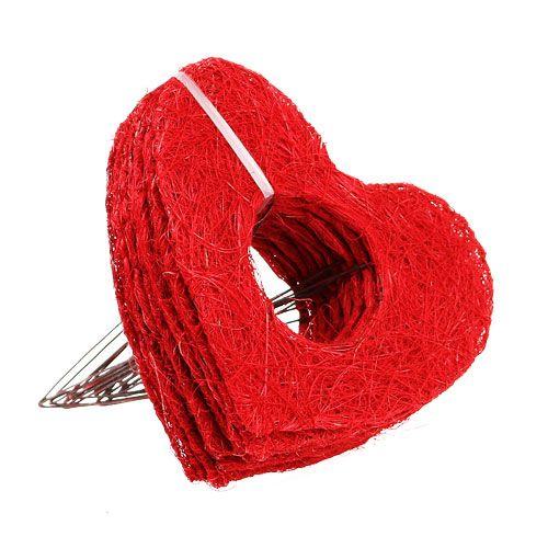 Sisal hart manchet 20cm rood hart sisal bloem decoratie 10st