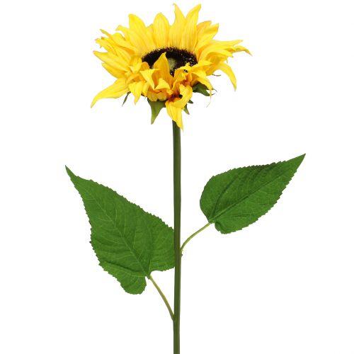Langgesteelde zonnebloem geel 53cm