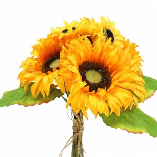 Decoratief boeket zonnebloembos geel 30cm
