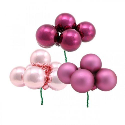 Mini kerstbal roze glas spiegel berry berry Ø20mm 140st