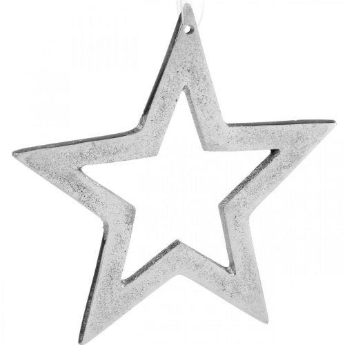 Ster voor het ophangen van zilver aluminium kerstdecoratie 15,5 × 15cm