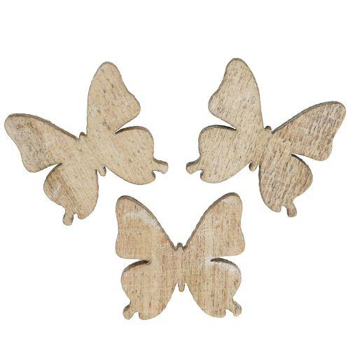 Verspreide decoratie vlinder hout natuur 2cm 144st
