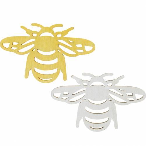 Strooi decoratie bij, lente, houten bijen voor handwerk, tafeldecoratie 48st
