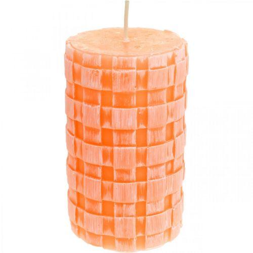 Rustieke kaarsen, stompkaarsen mandpatroon, oranje waskaarsen 110/65 2st