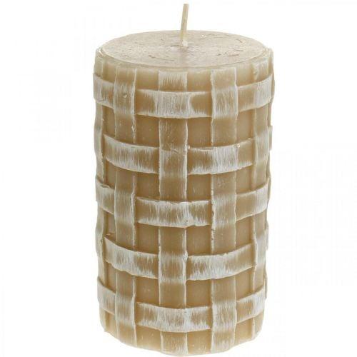 Rustieke waskaarsen, bruine stompkaarsen, gevlochten kaarsen 110/65 2st