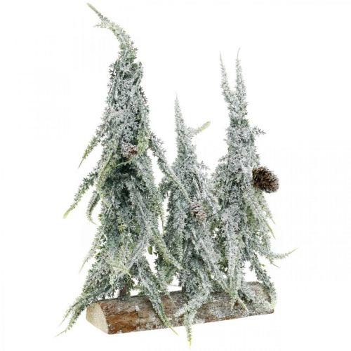 Dennenbomen met sneeuw, adventsdecoratie, winterbos L16.5cm H28cm