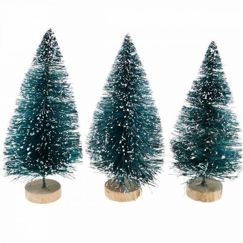 Met sneeuw bedekte mini dennenbomen, winterbos, adventsdecoratie H9cm Ø4cm 3st