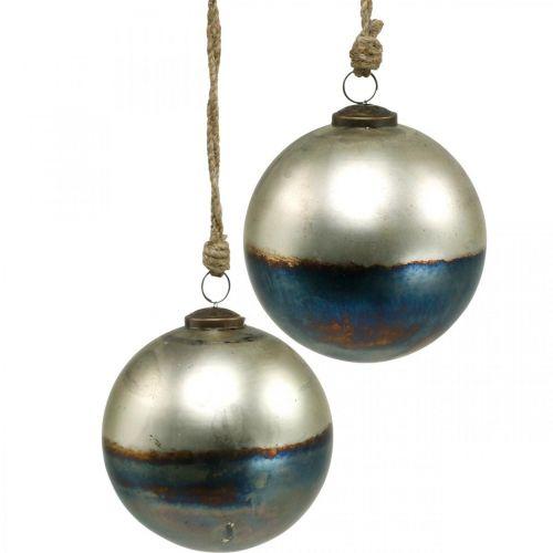 Kerstballen tweekleurig glazen bol Ø12cm blauw, metallic 2st