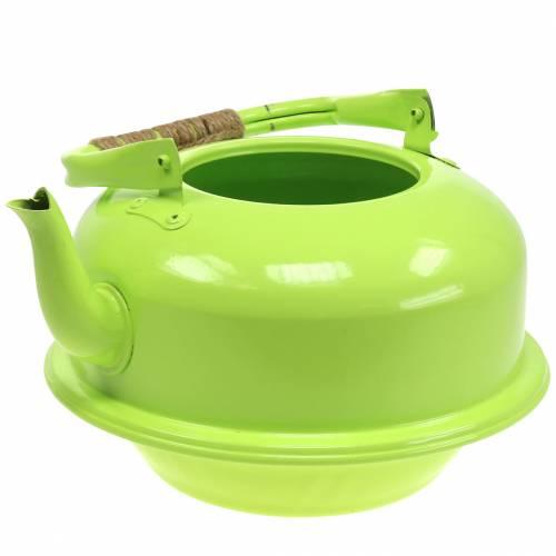 Planter theeketel zink mei groen Ø26cm H15cm
