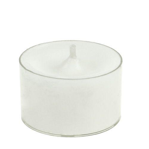 Witte theelichtjes in plastic schaal 50p