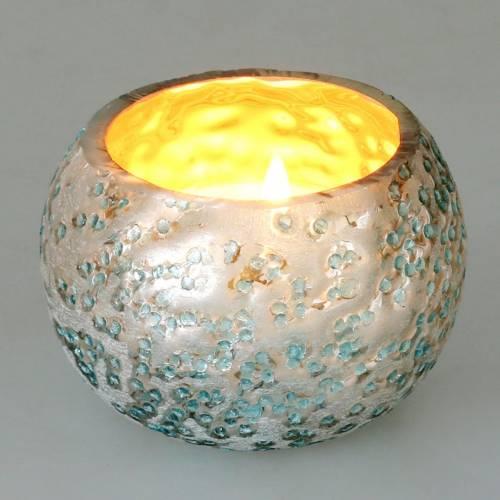 Lantaarn van glas zilver ijsblauw Ø8,5cm H6cm