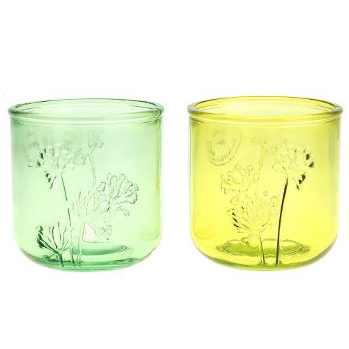 Decoratief glas windlicht groen / geel Ø9cm H9cm 6st